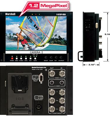 Изображение V-R70P-HDA-AB HD 7' Wide Screen LCD Monitor with Anton Bauer Battery Mount
