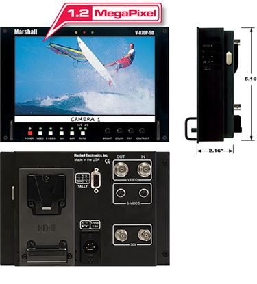 Immagine di V-R70P-HDSDI-AB HD 7' Wide Screen LCD Monitor with HDSDI/SD Input and Anton Bauer Battery Mount