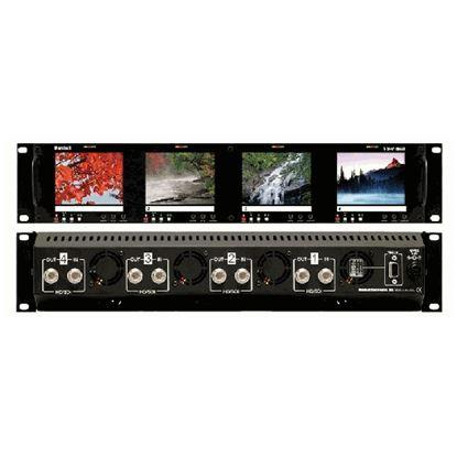 Image de V-R44P-HDSDI Four  HD 3.5' LCD Screen Rack Mount Panel with HDSDI Input