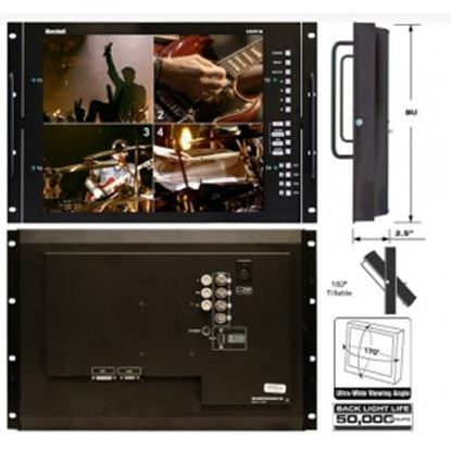 Image de V-R171P-4A-PAL 17' Rack Mountable LCD Monitor with Quad Splitter & Switcher, PAL format only