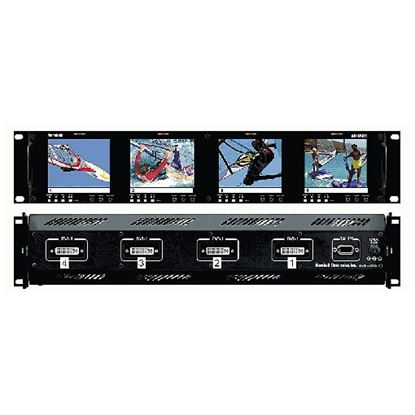 Picture of V-R44P-DVI Four  HD 3.5' LCD Screen Rack Mount Panel with DVI, VGA